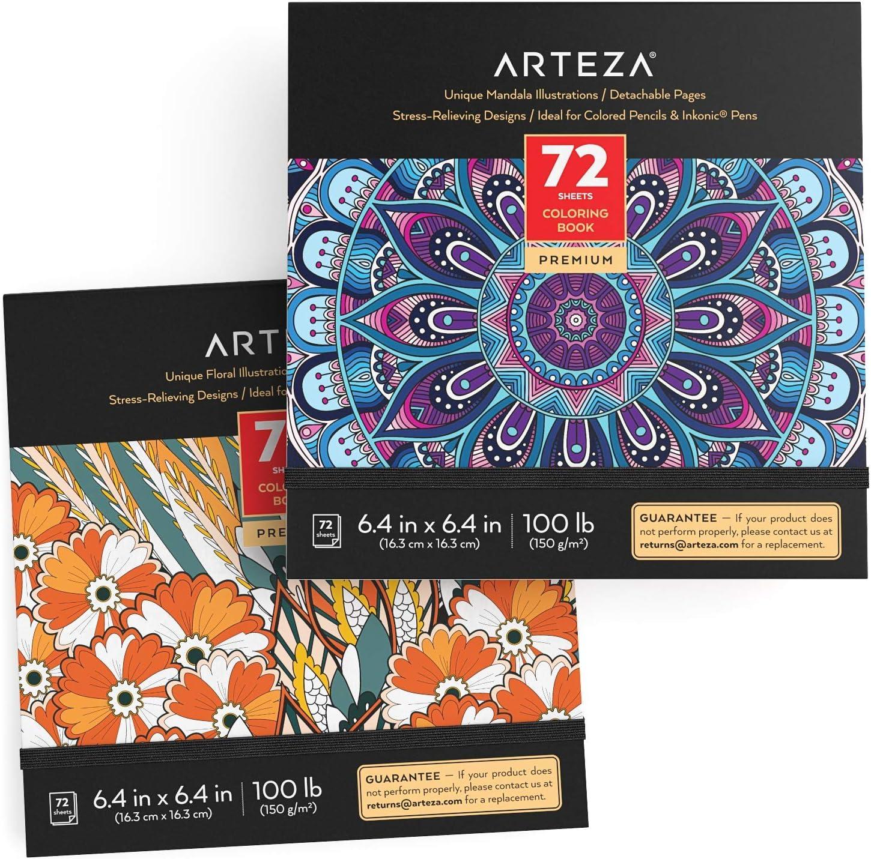 Arteza Libros de colorear para adultos con diseños florales y mandalas, pack 2 blocs de 72 páginas (144), relajantes, para el estrés y ansiedad en adultos y adolescentes, meditación y mindfulness