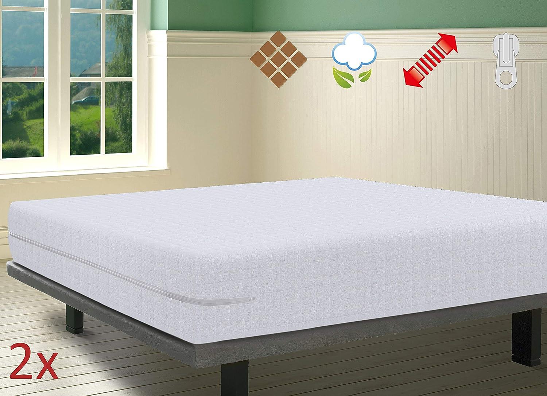 anpassungsf/ähig elastisch hochabsorbierend Savel Matratzenbezug aus 100/% Baumwollfrottee mit Karomuster Gr/ö/ße 60x15 cm, Wei/ß