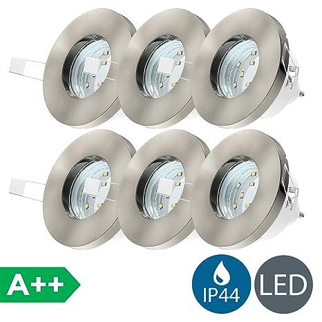 LED Einbaustrahler Badezimmer geeignet 6er Set inkl. 6 x 3W Leuchtmittel  230V GU10 IP44 LED Einbauleuchte Badstrahler Deckenspot Badleuchte  Einbauspot ...
