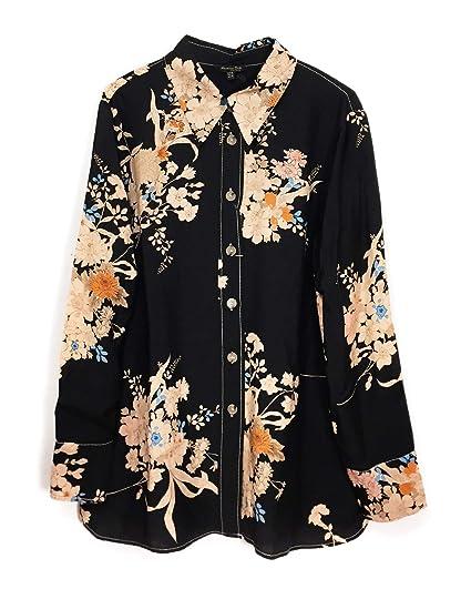 351b65b0 MASSIMO DUTTI Women's Topstitched Floral Print Shirt 5104/805 (36 EU) Black
