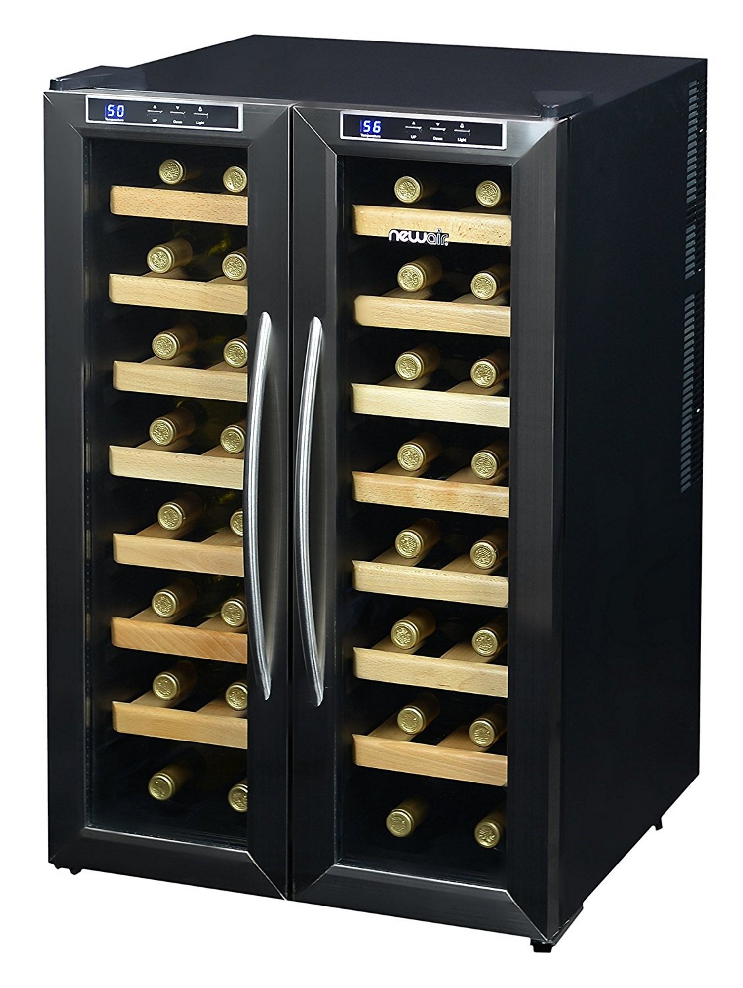 NewAir AW-321ED 32 Bottle Dual Zone Thermoelectric Wine Cooler, Stainless Steel & Black
