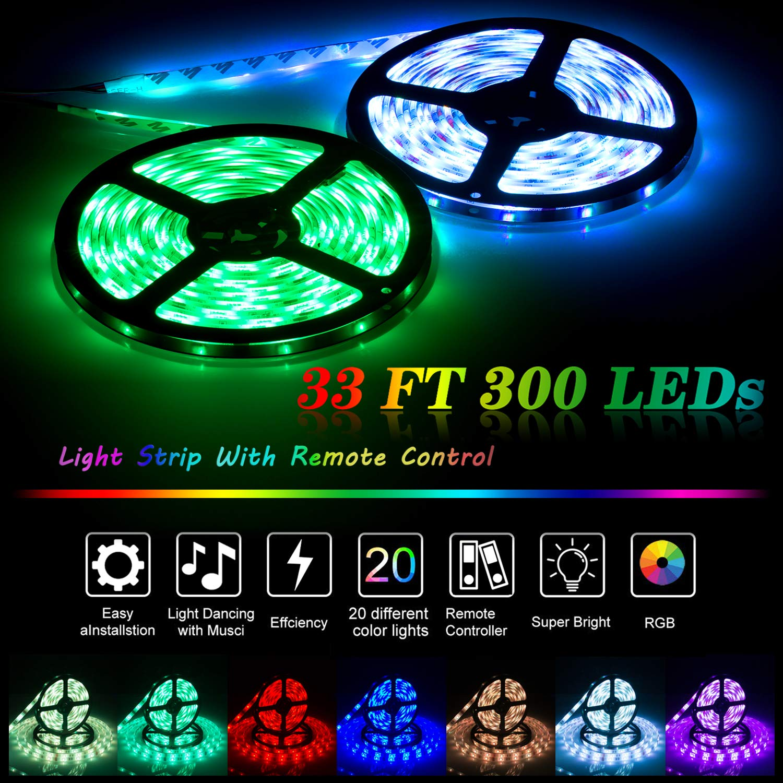 UTTORA 10M Tira LED, Tiras LED RGB 5050 12V con 300 LEDs, Impermeable IP65, Control Remoto de 44 Teclas para Decoración de Casa, Jardín, Fiesta, etc. (10M)