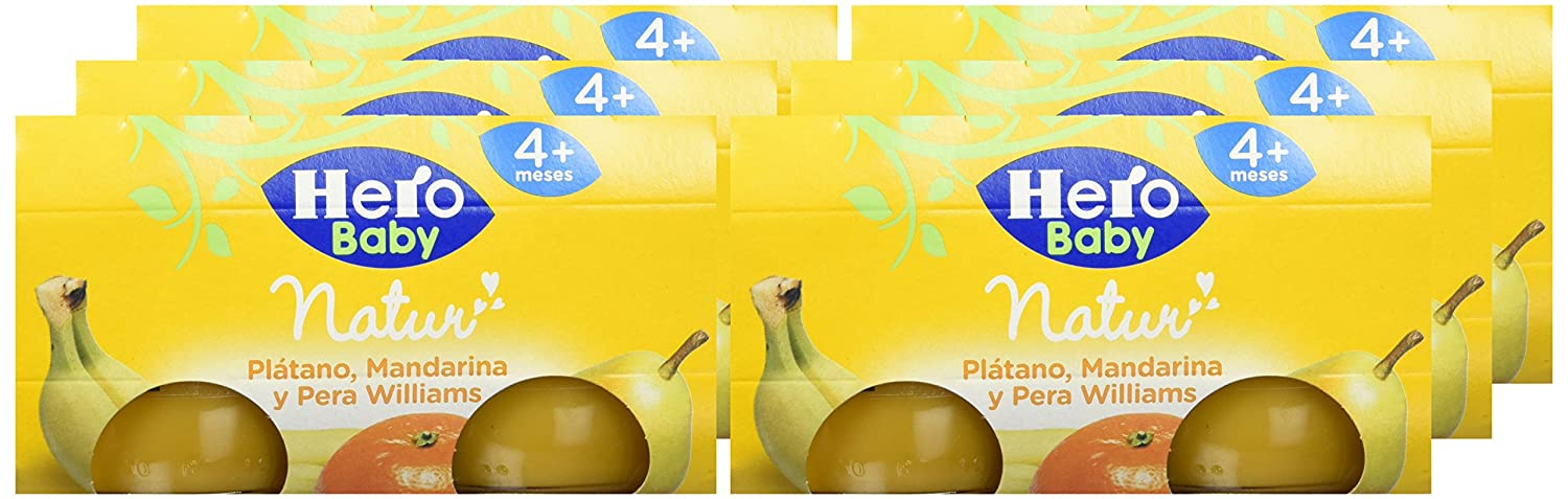 Hero Baby - Platano Mandarina Pera Williams 4 Meses 240 gr - Pack de 6 (Total 1440 gr): Amazon.es: Alimentación y bebidas