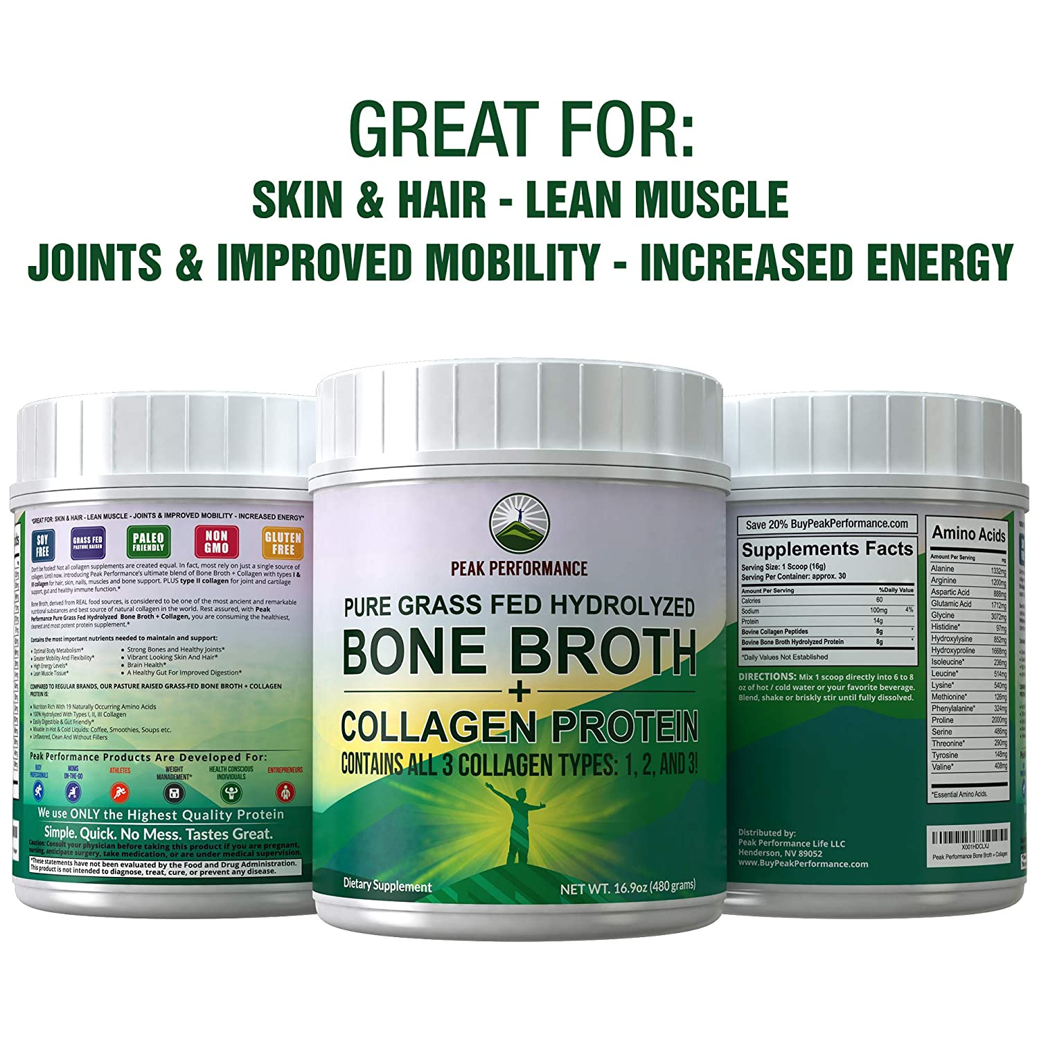 Hydrolyzed Bone Broth and Collagen Unflavored Protein Peptides Powder by Peak Performance. Contains All Collagen Types: 1, 2, and 3. Pure Pasture, ...