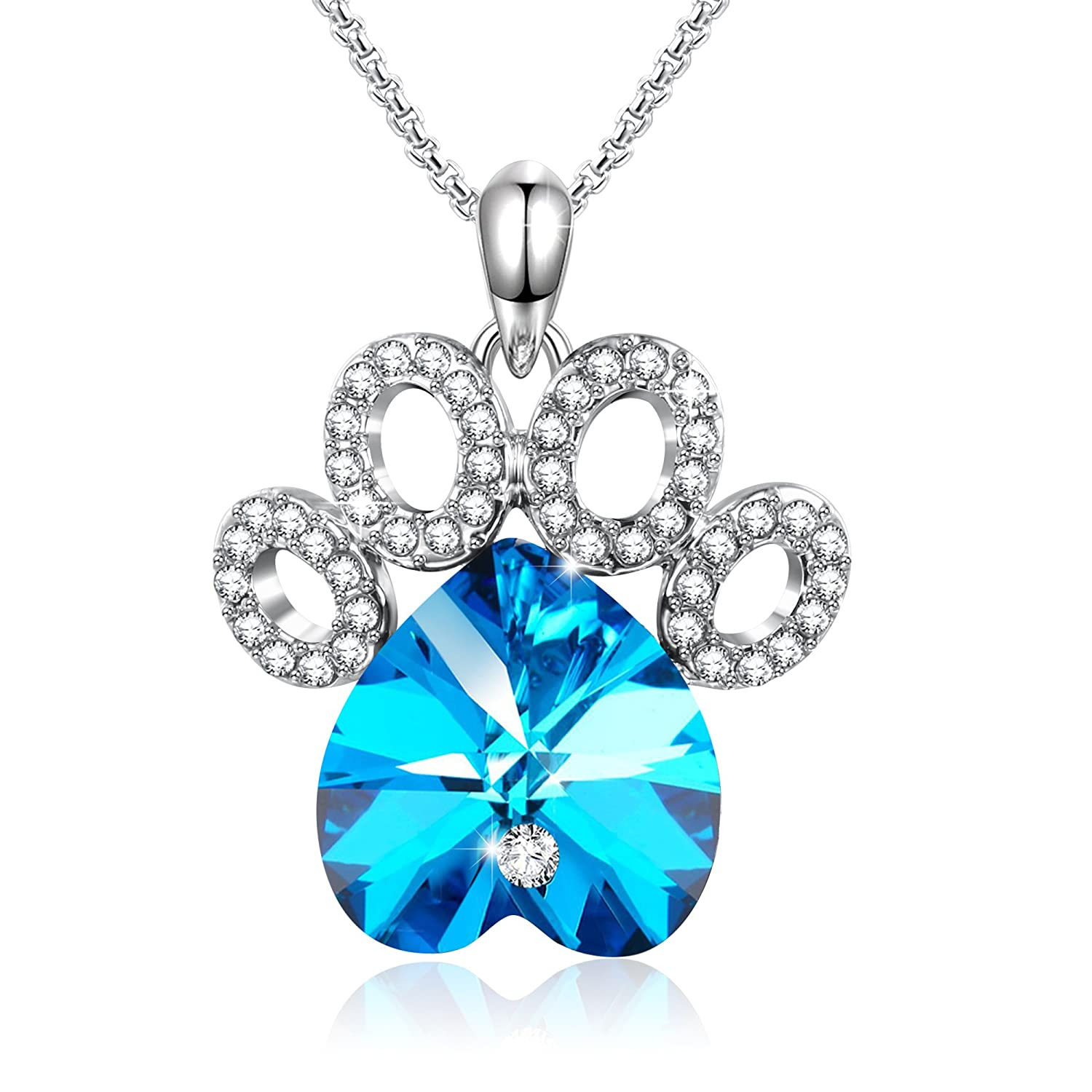 """""""Puppy Love""""Dog Paw Pendant Necklace Love Heart Shaped Birthday Gifts for Women Wife,Blue Crystals from Swarovski"""