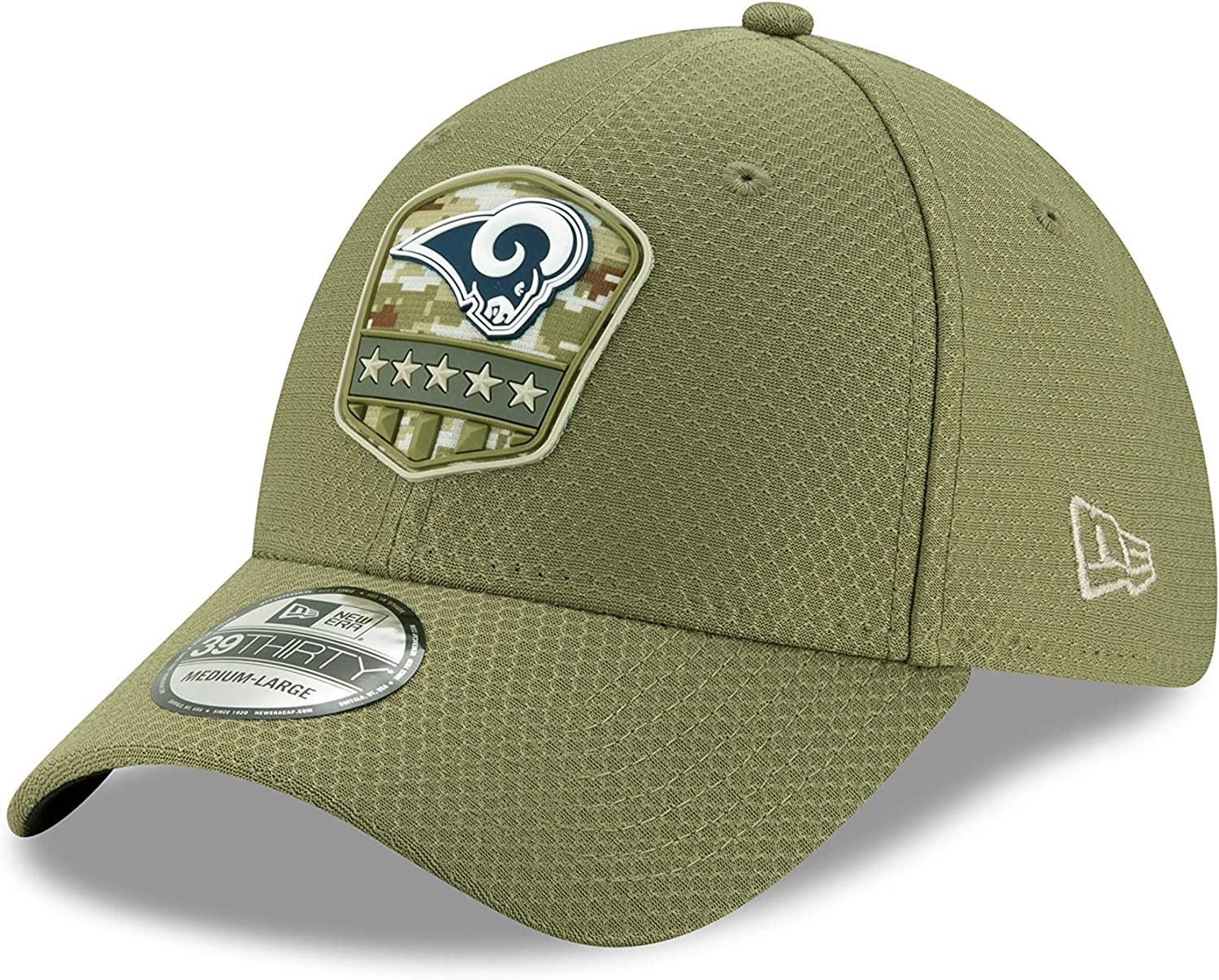New Era Los Angeles Rams 39thirty Stretch Cap on Field 2019 Salute to Service