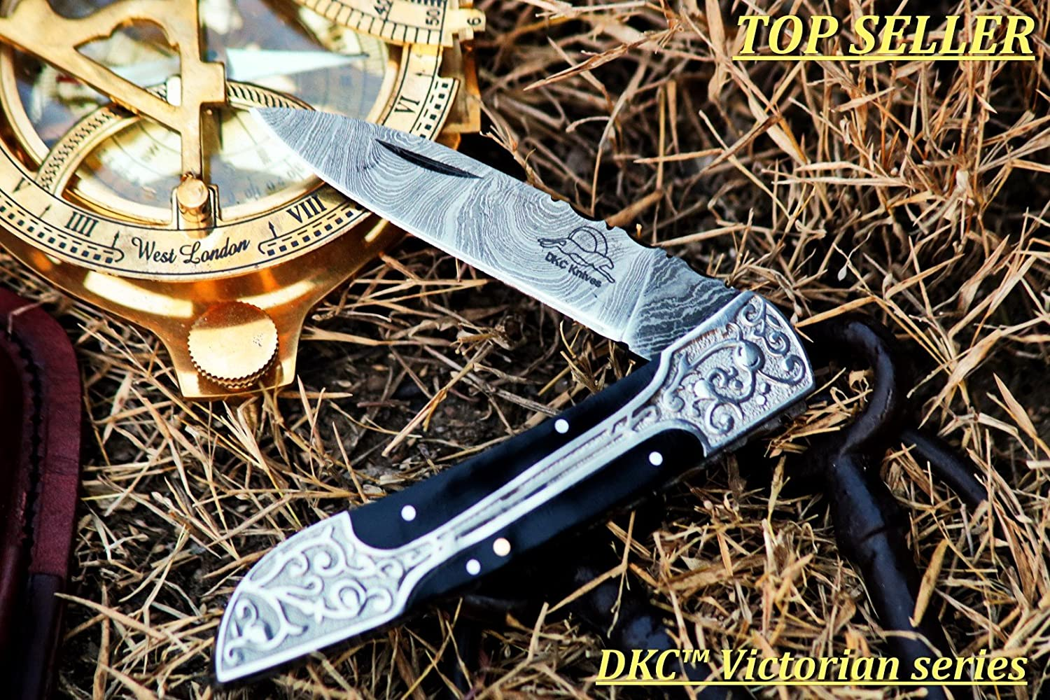 DKC Knives 16 5 18 Sale DKC-37-BH Victorian Damascus Folding Pocket Knife Buffalo Horn 7.75 Long, 4.5 Folded 3 Blade 4.8oz Hand Made Incredible Look and Feel