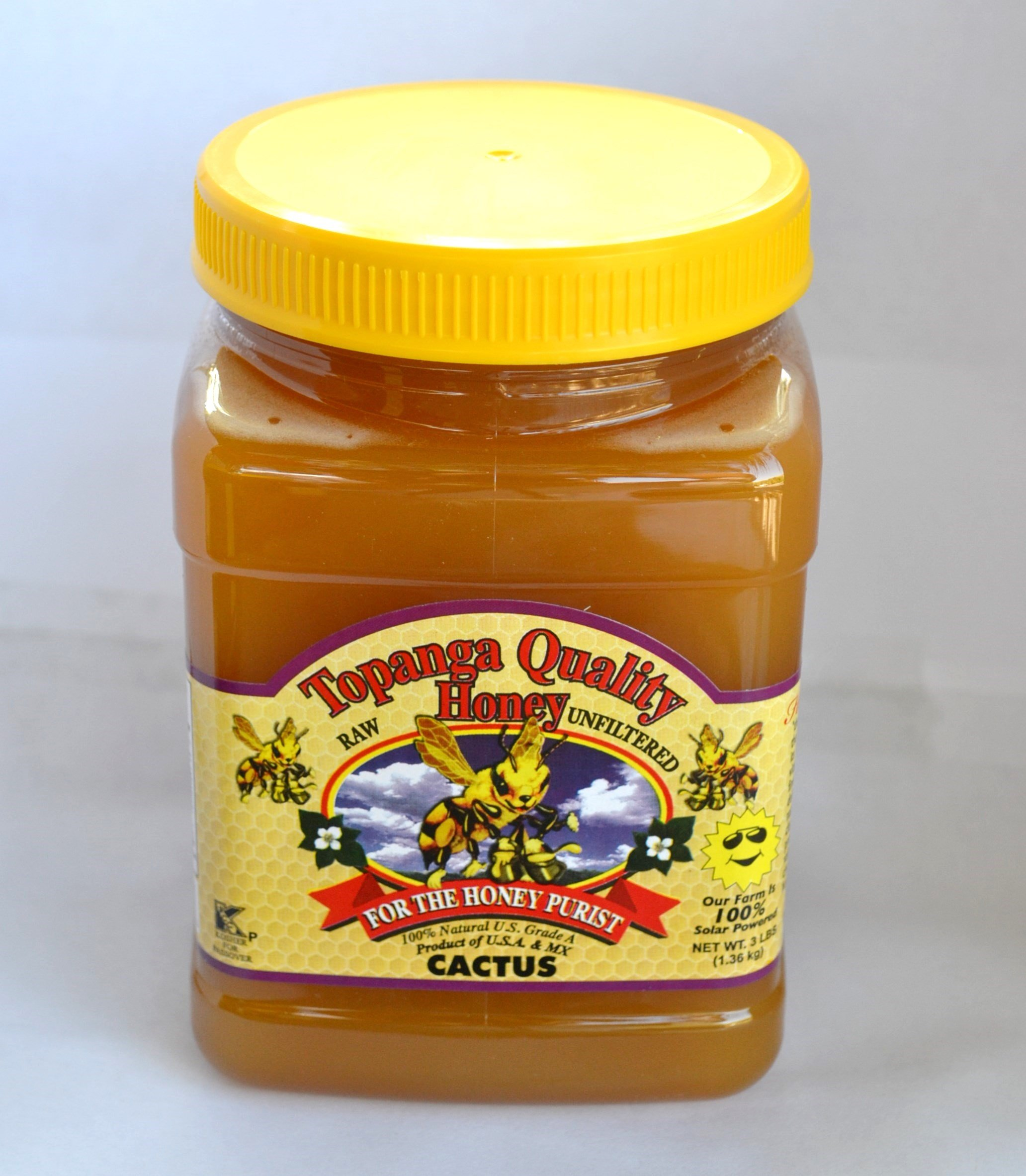 Topanga Quality Honey (Cactus Floral Source) Raw, Unfiltered, Unpasturized, Best Quality, All Natural, Kosher - 3 Pounds Each by Topanga Quality Honey (Image #1)