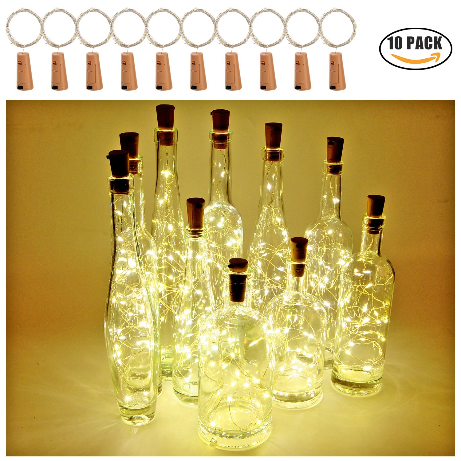 Wine Bottle Lights with Cork Espier 20 LED 10 Pack Battery Operated String Light for DIY Party Christmas Halloween Wedding Decoration (Warm White)