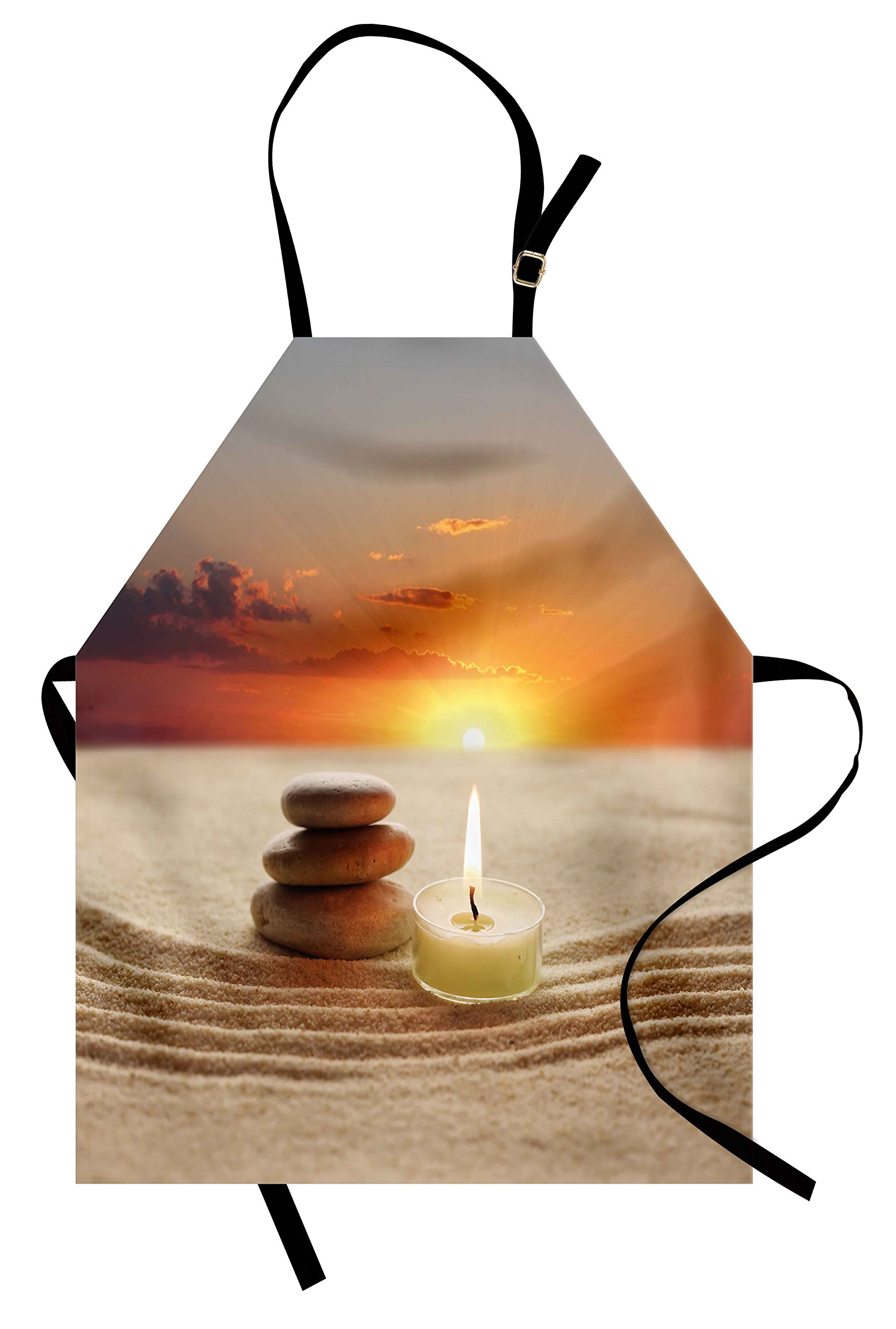 Lunarable Spa Apron, Little Candle with Three Stones Middle of Sand with Sunset Serene Landscape, Unisex Kitchen Bib Apron with Adjustable Neck for Cooking Baking Gardening, White Brown and Orange