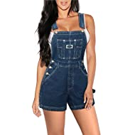 HyBrid & Company Womens Super Comfy Stretch Ripped Denim Jumpsuit Overalls