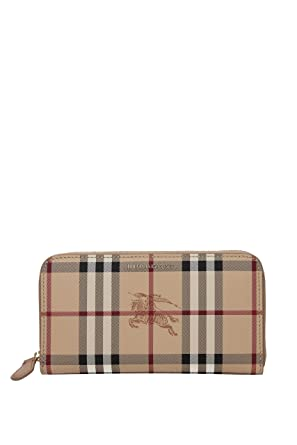 42c2747c91e8 Image Unavailable. Image not available for. Color  Burberry Women s Haymarket  Check and Leather Ziparound Wallet Camel