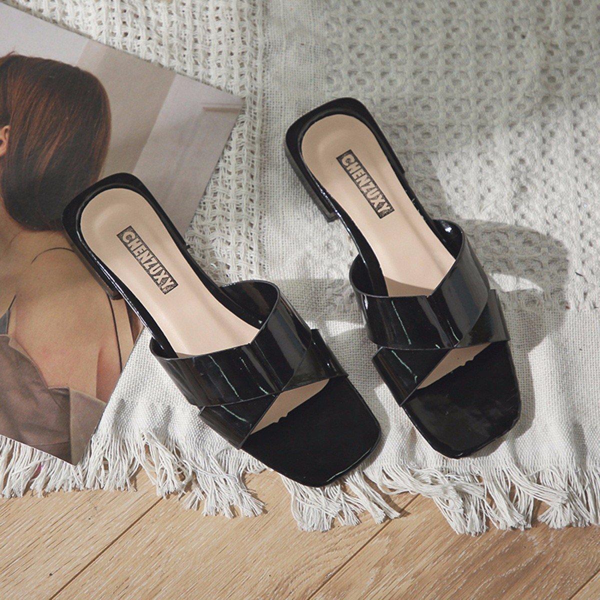 QPSSP Sandalen Und Slipper, Crossover, Damen Strand, Schuhe, Sportbekleidung, Sandalen, Damen Crossover, - Schuhe,36,Schwarz - cee9d3