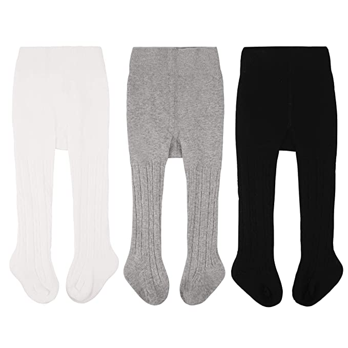 12c7f15d2e595e CozyWay Baby Girls Tights Cable Knit Leggings Stockings Cotton 3/5 Pack  Pantyhose Infants Toddlers