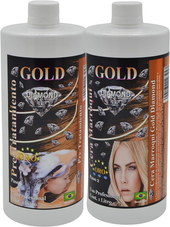 Gold DIAMOND — Cera Marroqui — KIT de Alisado Brasileño, tratamiento profesional a base de Keratina, vitaminas y extractos naturales, alisa al 100% ...