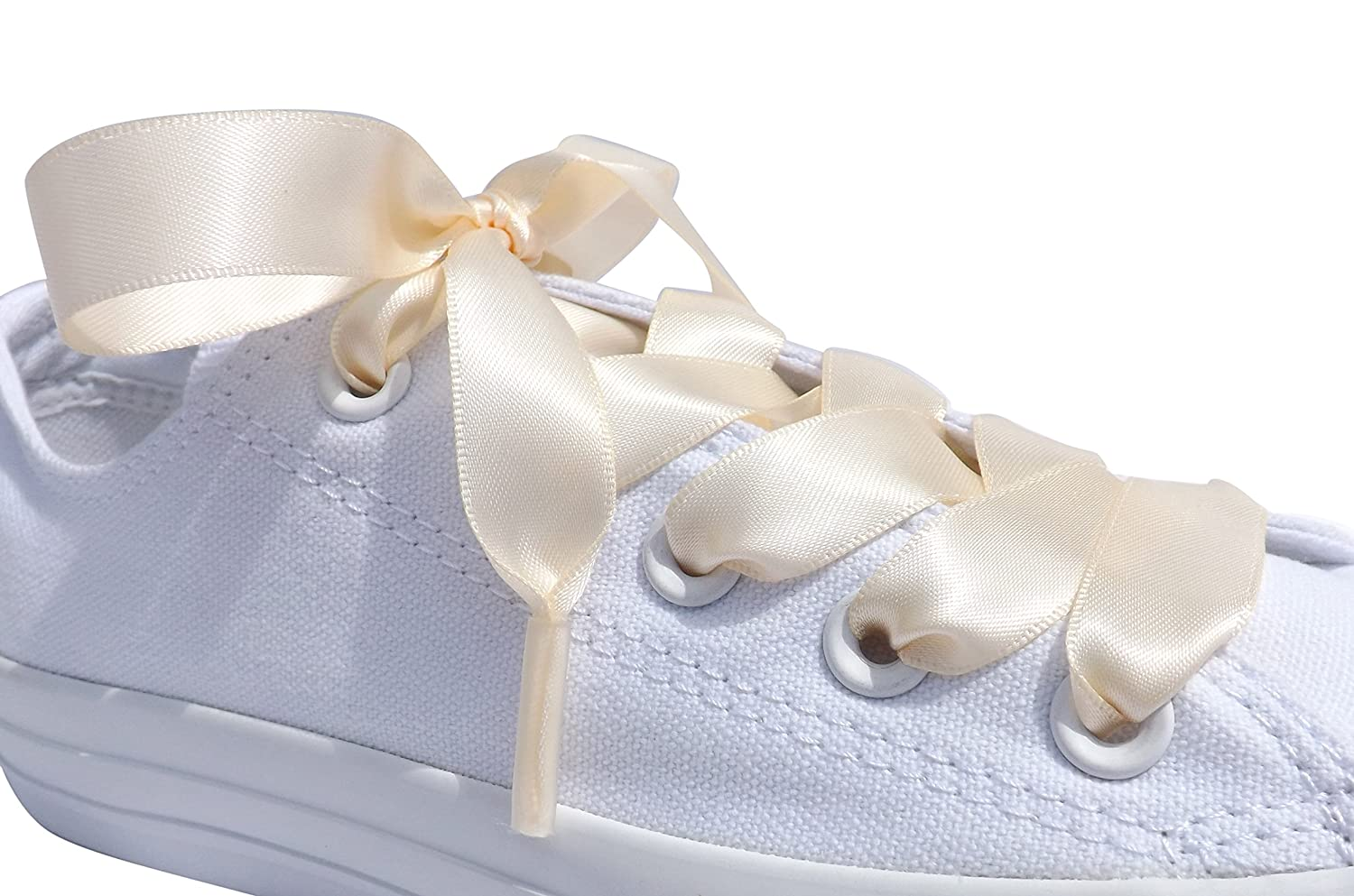 30cabb26c55 Pimp My Shoes Ivory Coloured Satin Ribbon Shoelaces For Trainers ...