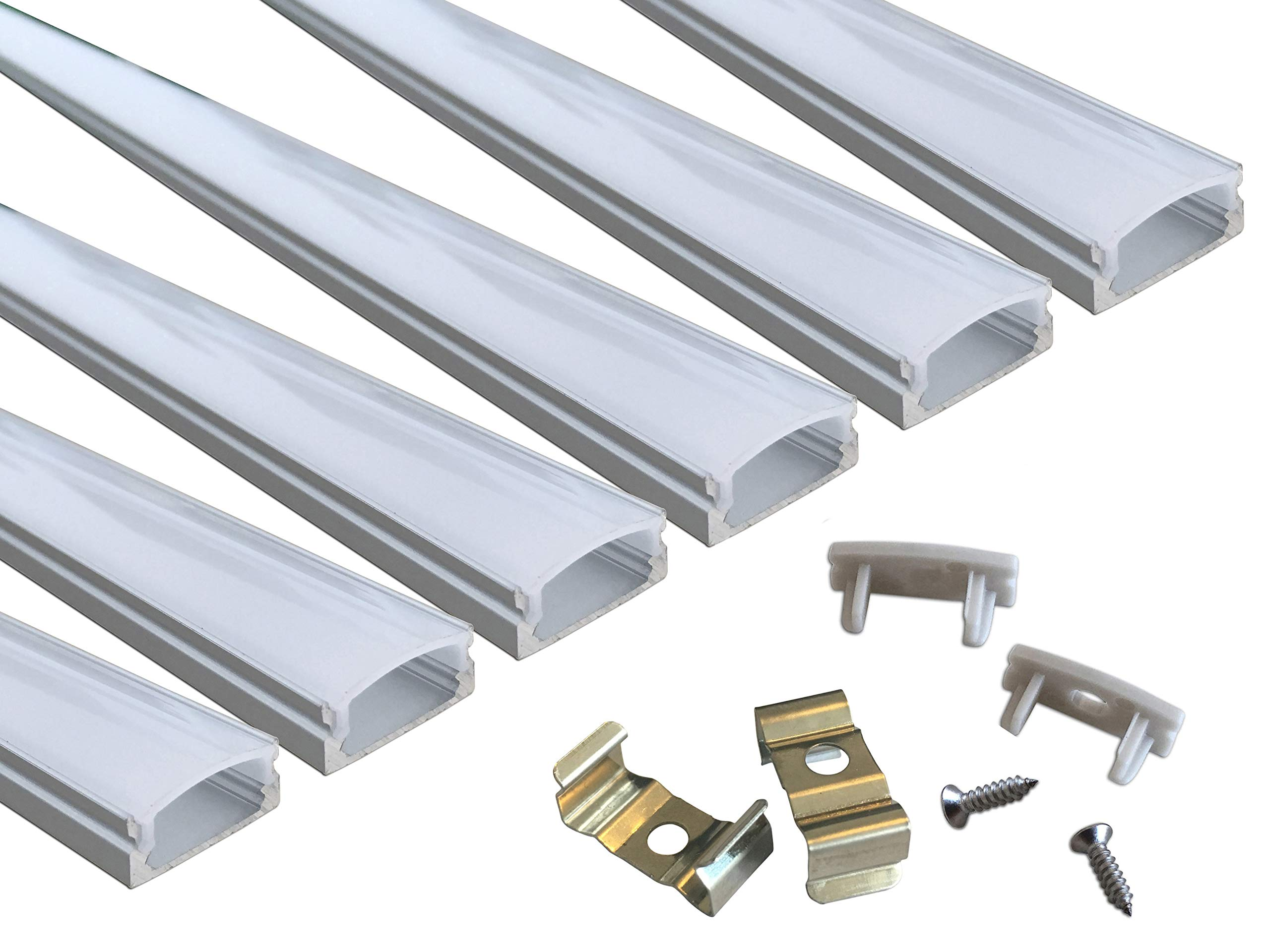 Muzata 6-Pack 3.3ft/1Meter 9x17mm U Shape LED Aluminum Channel System With Cover, End Caps and Mounting Clips Aluminum Profile for LED Strip Light Installations, Led Lights Diffuser Segments by Muzata