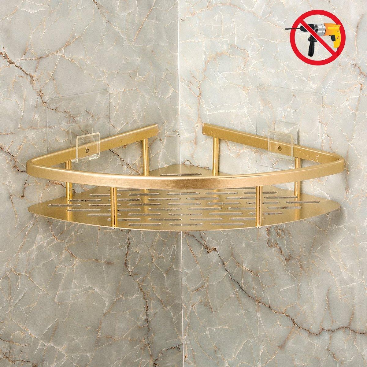 Bearstar 2-Pack Triangle Aluminum Bathroom Show Shelf,No Drilling Polished Golden