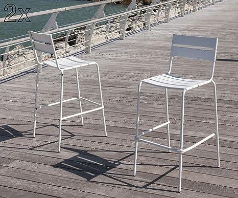 Tomasucci gallipoli set di 2 sgabelli da esterno in metallo bianco