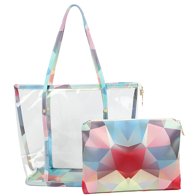 Clear Tote Bags Purse Shoulder Handbag PVC Transparent Beach Bath Bag Organiser