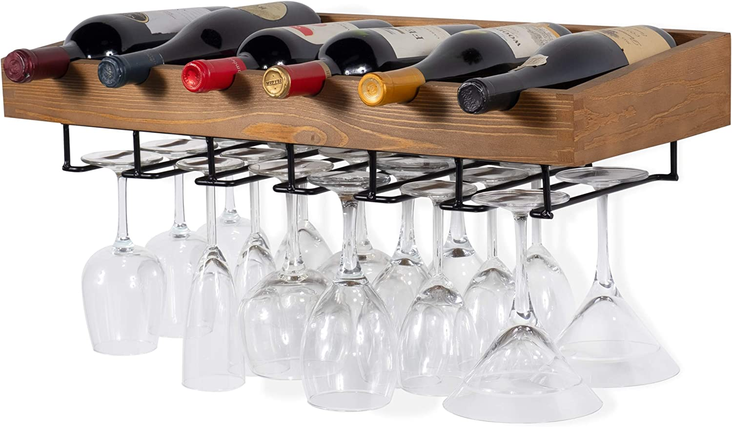 Brightmaison Wine Rack Wall Mounted Hanging Bottle Glass Holder 6 Bottles And Stem Wine Glass Stemware Rack Wood Walnut Home Kitchen
