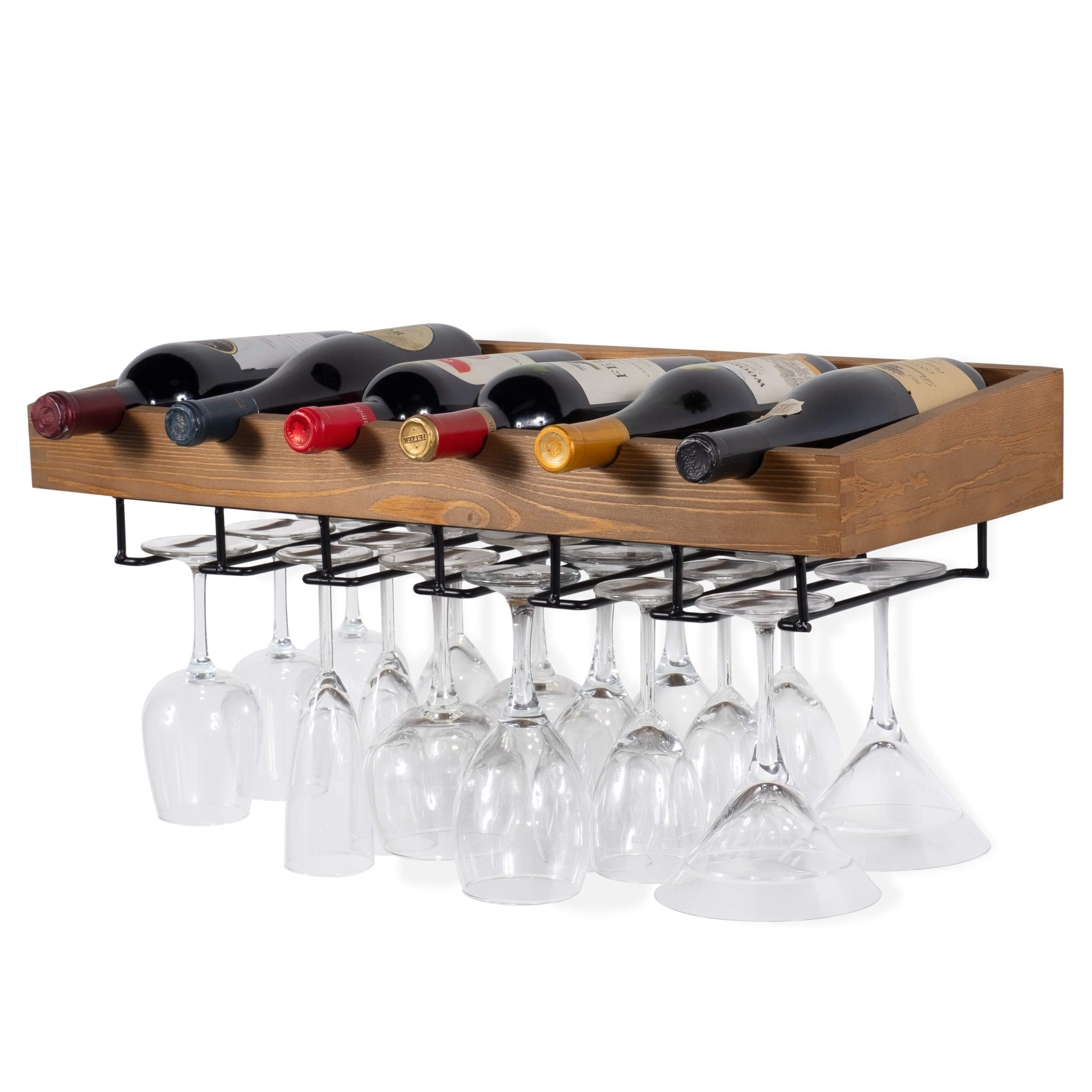 brightmaison Wall Mounted Walnut Stained Wood Wine Stem Rack for Bottles and Stemware Glass Storage Holder Organizer Display (Set of 1) by brightmaison