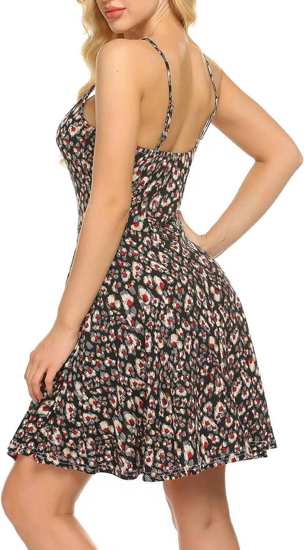 Unibelle Sommer Stand Swing /Ärmelloses Sommerkleid Negligees Minikleid Verstellbares Riemchen Midi Kleid Blumen Buntfarben Unifarben S-XXL