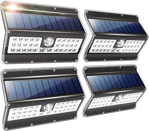 EZBASICS Solar Lights Outdoor, 3 Optional Modes Wireless Motion Sensor Solar Light, IP 65 Waterproof, Security Lights for Front Door, Yard, Garage, Deck, 4 Pack