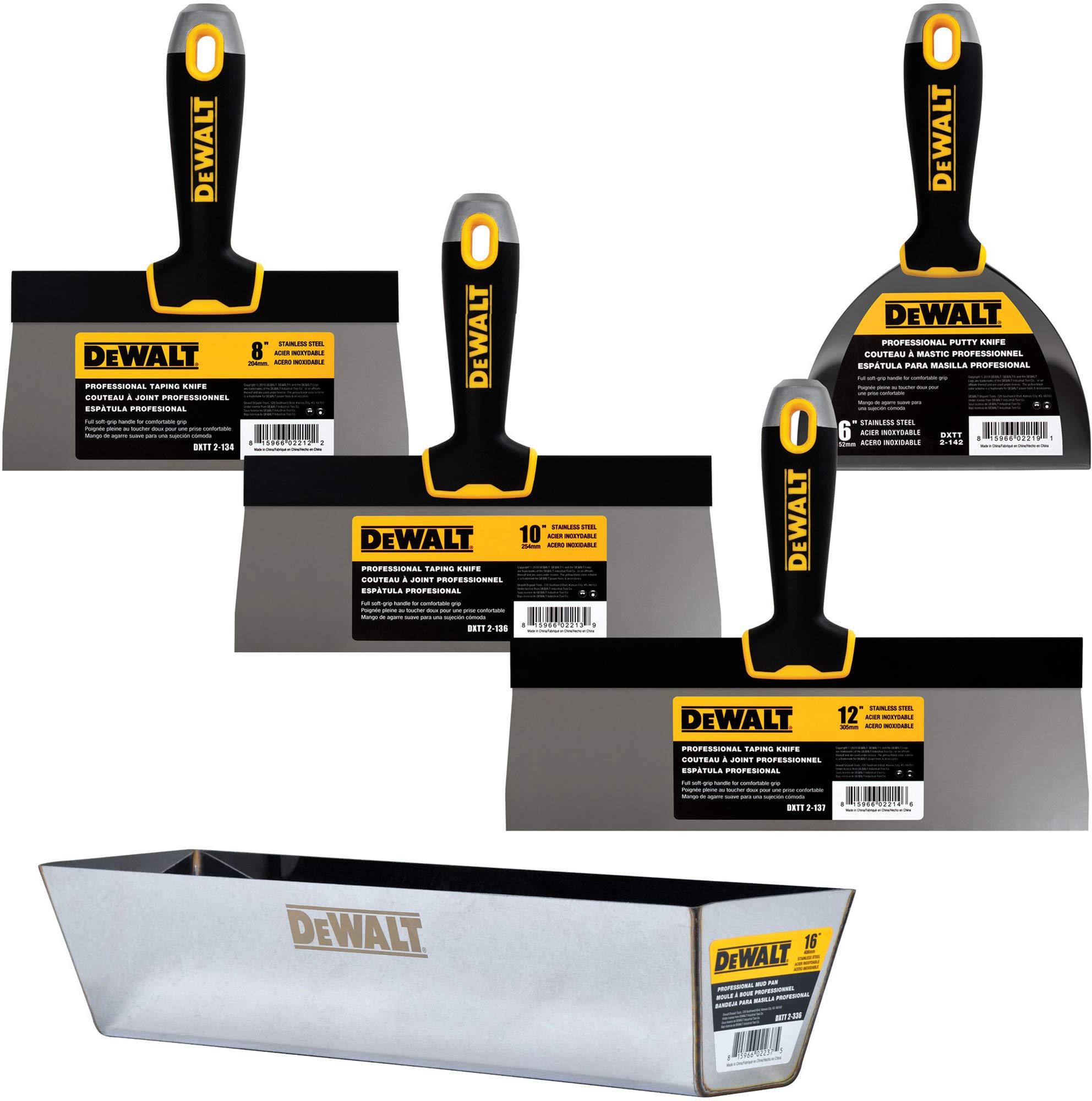 DEWALT Stainless Steel Taping Knife & Mud Pan Set + FREE BONUS 6'' Soft Grip Putty Knife | 8/10/12-Inch Blades | Soft Grip Handles | DXTT-3-173 by DEWALT