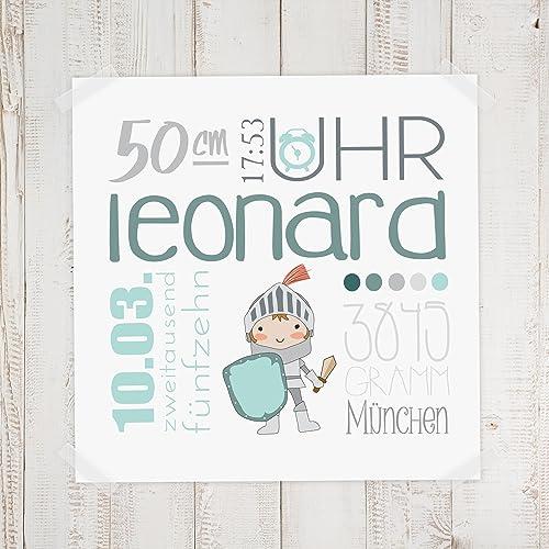 Geburtsdaten Wandbild Leonard Amazon De Handmade