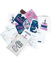 Lot de 50 Cartes Étapes Mixtes Souvenirs de la 1ère année de Bébé - Cadeau de Naissance pour faire de jolies Photos et écrire les Premières Fois de Bébé - Création Française - Grand Format 16x11cm