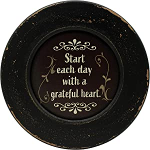 CVHOMEDECO. Primitives Start with Grateful Wood Decorative Plate Display Wooden Plate Home Décor Art, 10-3/4 Inch