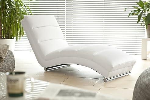 designer liege chaise longue aus kunstleder wei mit verchromten gestell renta relax - Liege Chaiselongue