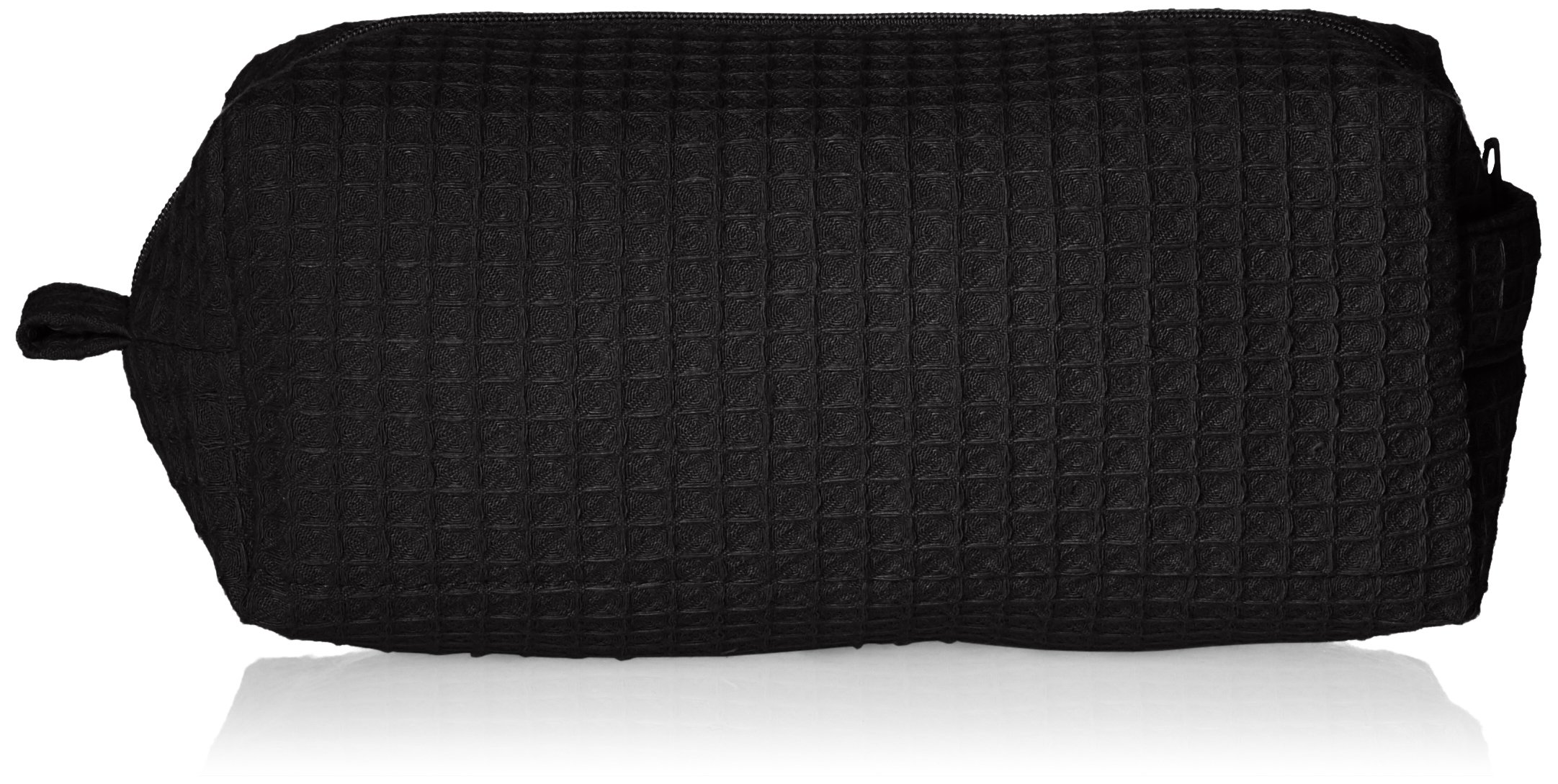 Terry Town CBW003-Black-1 Waffle Cosmetic Bag, Black