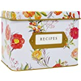 """Jot & Mark Decorative Tin for Recipe Cards   Holds Hundreds of 4"""" x 6"""" Cards"""