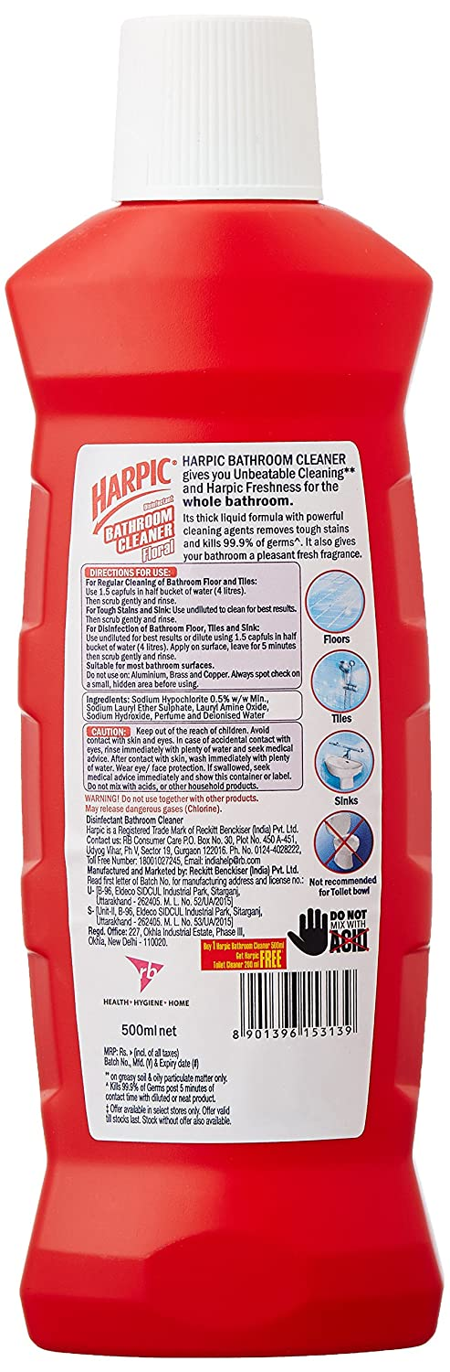 Harpic Bathroom Cleaner 500 ml Floral with Free 200 ml Any