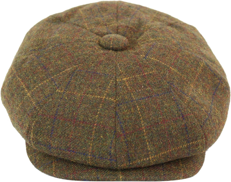 Mens Quality Tweed Check Herringbone Peaky Blinders Granddad Lined Flat Cap Hat