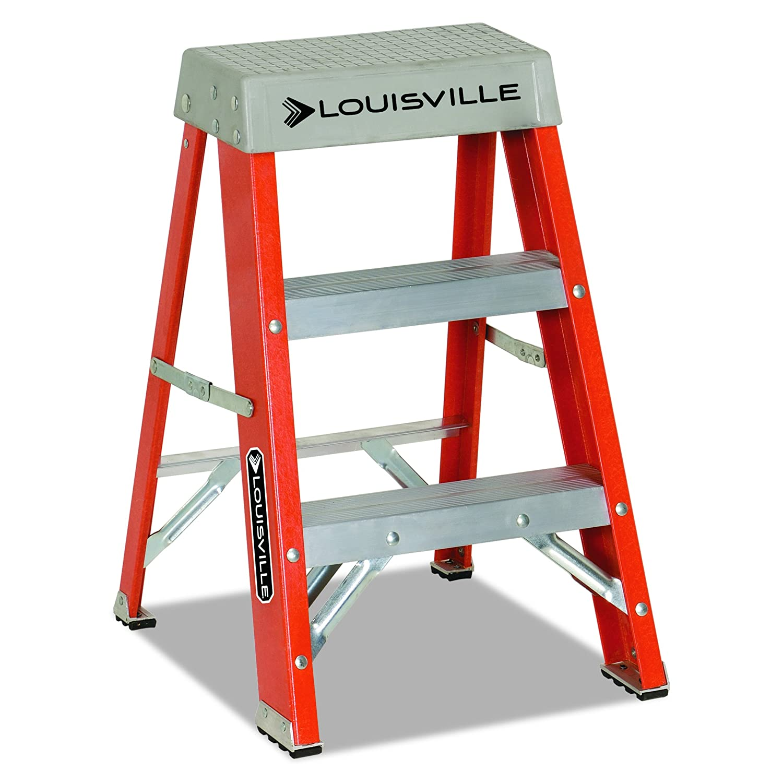 """Louisville FS1502 Fiberglass Heavy Duty Step Ladder, 28 3/8"""", 2-Step, Orange"""