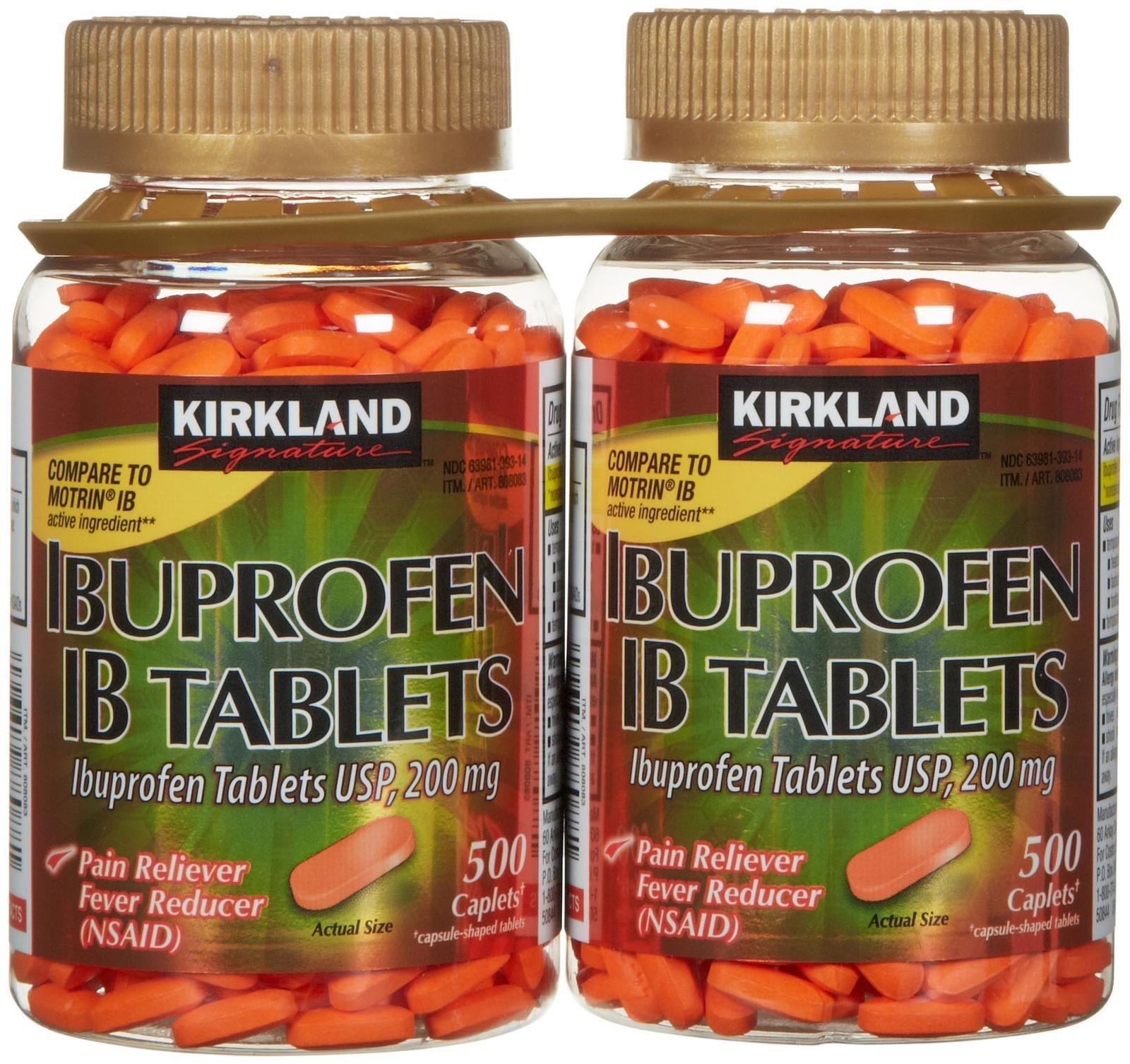 Kirkland Signature Ibuprofen IB 200 mg Tablets 1000Count by Kirkland Signature