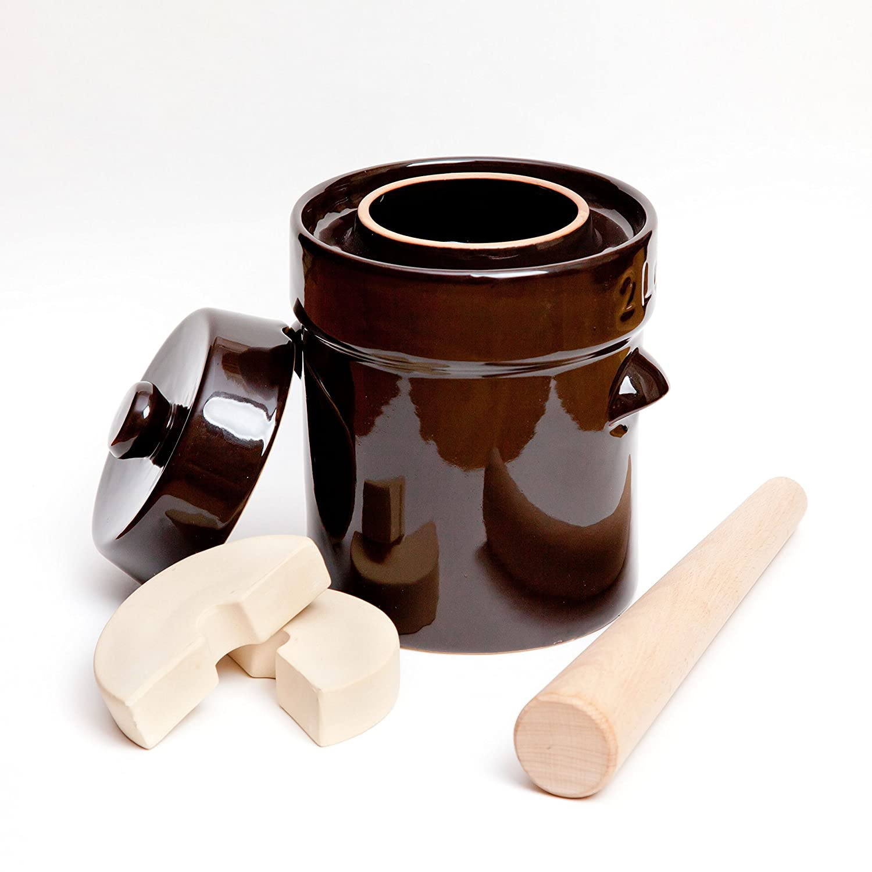 Kenley Fermentation Crock Jar 5 Liter & Pounder - 1.3 Gallon Fermenting Pickling Pot for Healthy Kimchi Sauerkraut Pickles Fermented Vegetables - Stoneware Ceramic Fermenter with Weights & Lid fej-l5-fba.01