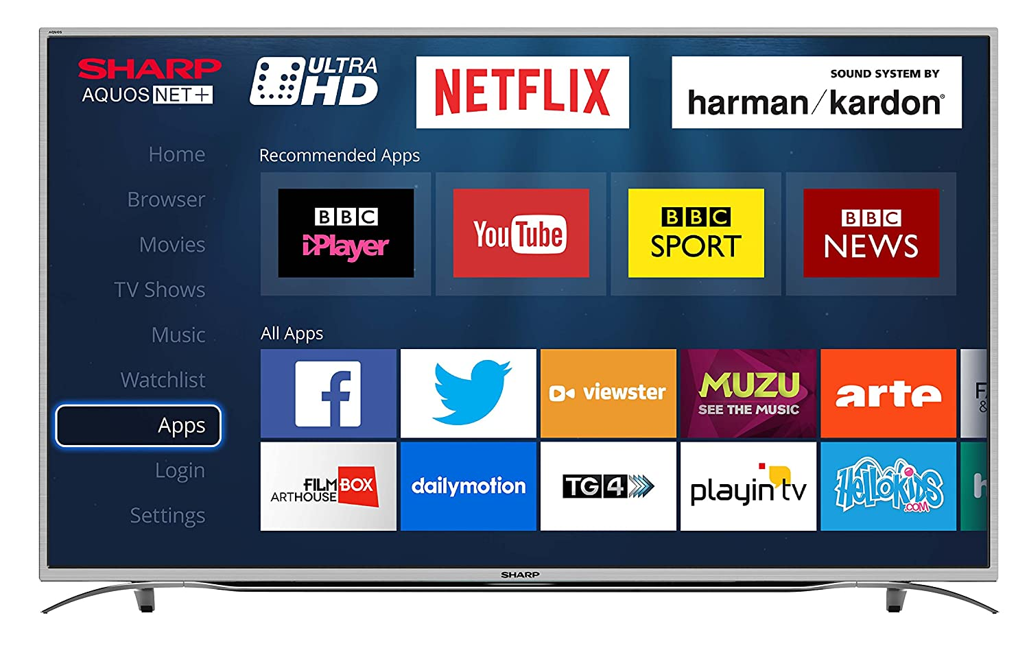 Sharp LC-55CUG8362KS 55-Inch Ultra HD 4K LED Smart TV with Freeview HD,  Silver