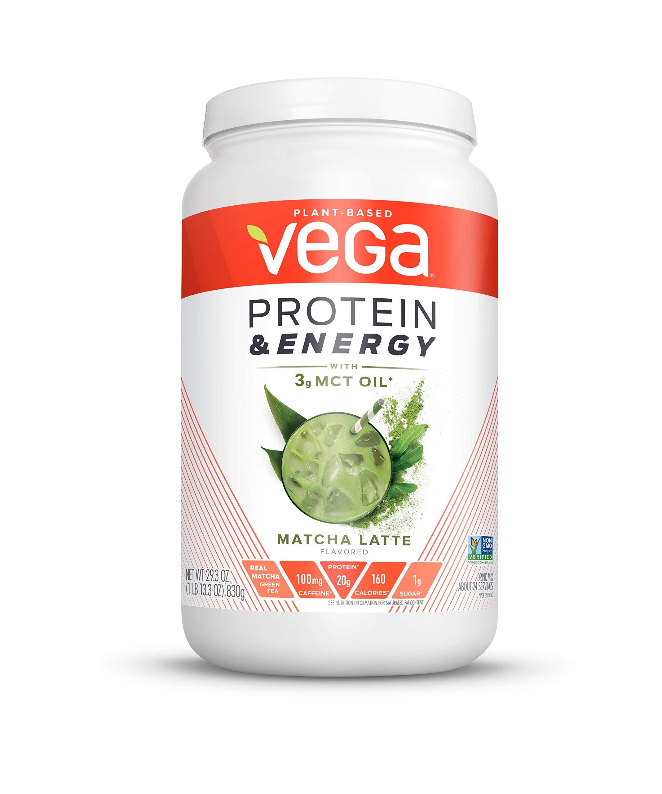 Vega Protein & Energy Matcha Latte (24 servings, 29.3 oz) - Plant Based Vegan Non Dairy Protein Powder, Gluten Free, Keto, MCT oil, Non GMO by VEGA