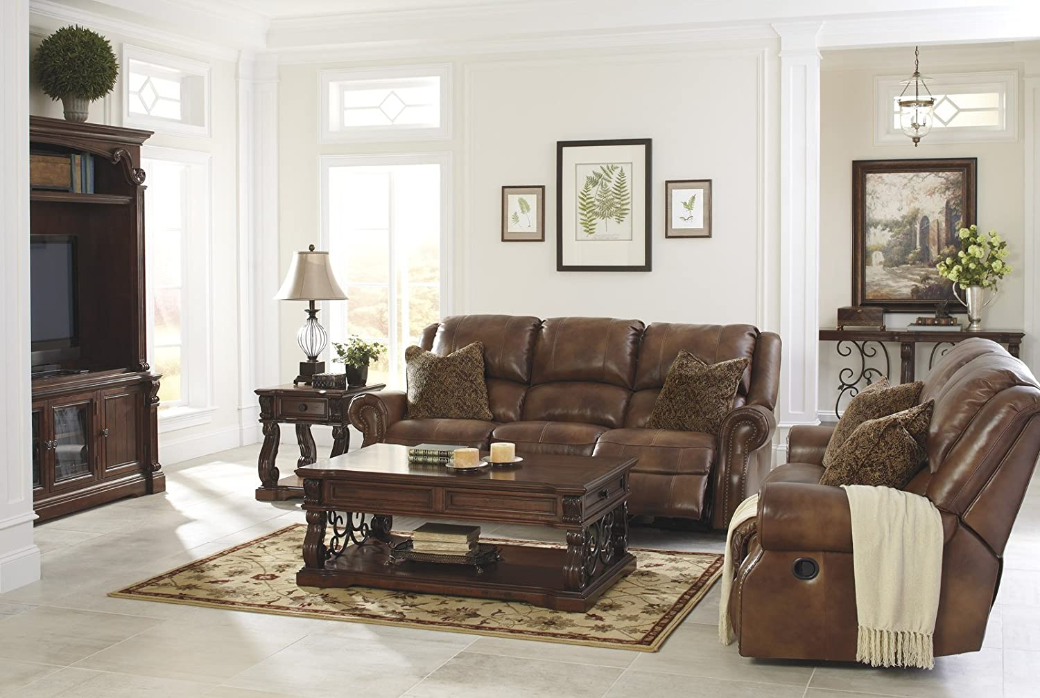 Amazon.com Ashley Furniture Signature Design - Walworth Recliner Sofa with 2 Pillows - 3 Seats - Pull Tab Manual Reclining - Auburn Kitchen u0026 Dining & Amazon.com: Ashley Furniture Signature Design - Walworth Recliner ... islam-shia.org