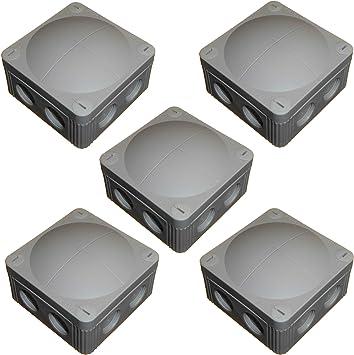 Wiska Combi 308/5 - Caja de conexiones externa con bloque de terminales, resistente al agua, membrana IP67 y rosca M20, color gris y negro: Amazon.es: Bricolaje y herramientas