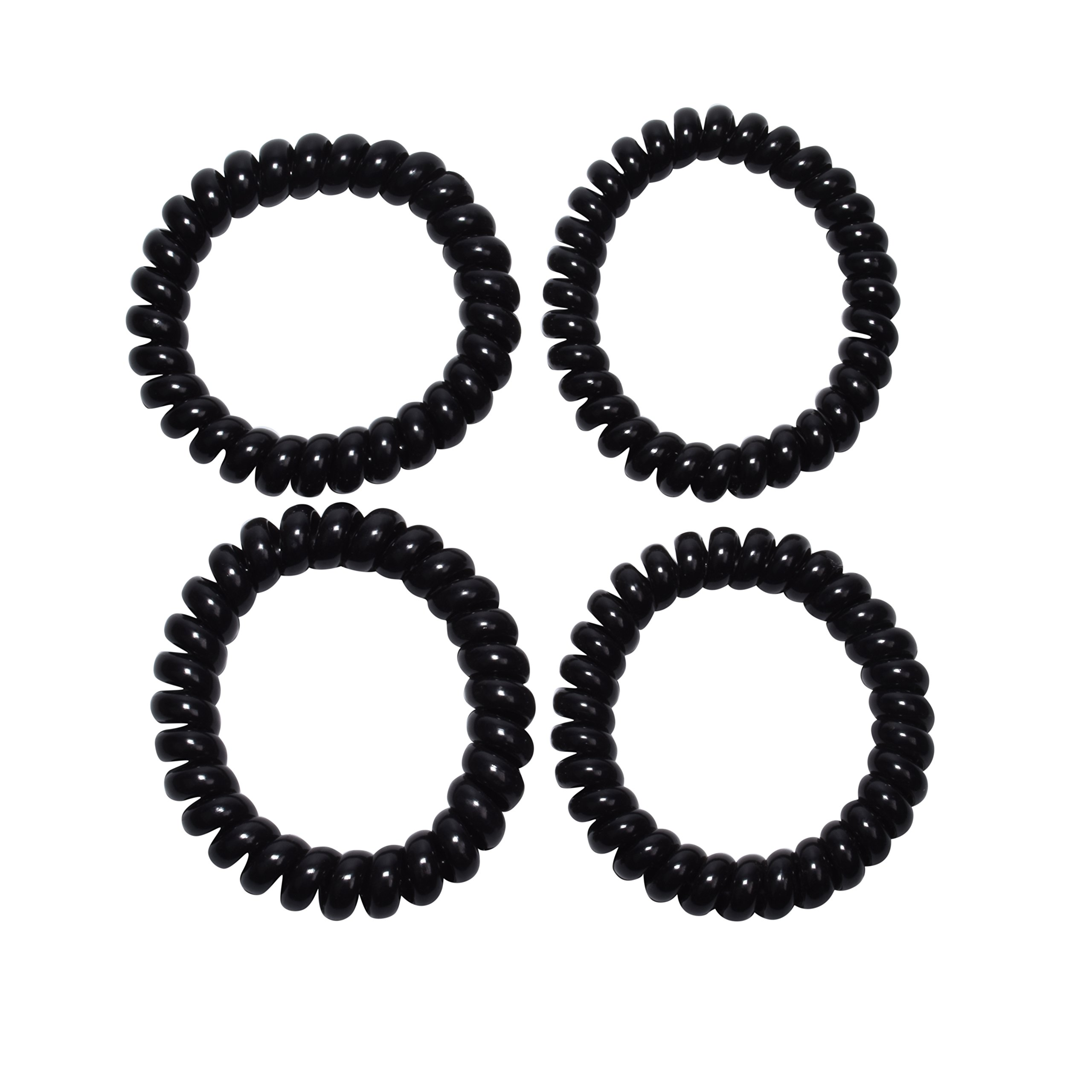 Spiralz Chewable Fidget set of 4 Bracelets Calming for Autism, ADHD, Sensory Processing, Special Needs, Sensory Motor Needs for Boys and Girls- Youth-sized, For Light Chewers Only- by chubuddy (Black)