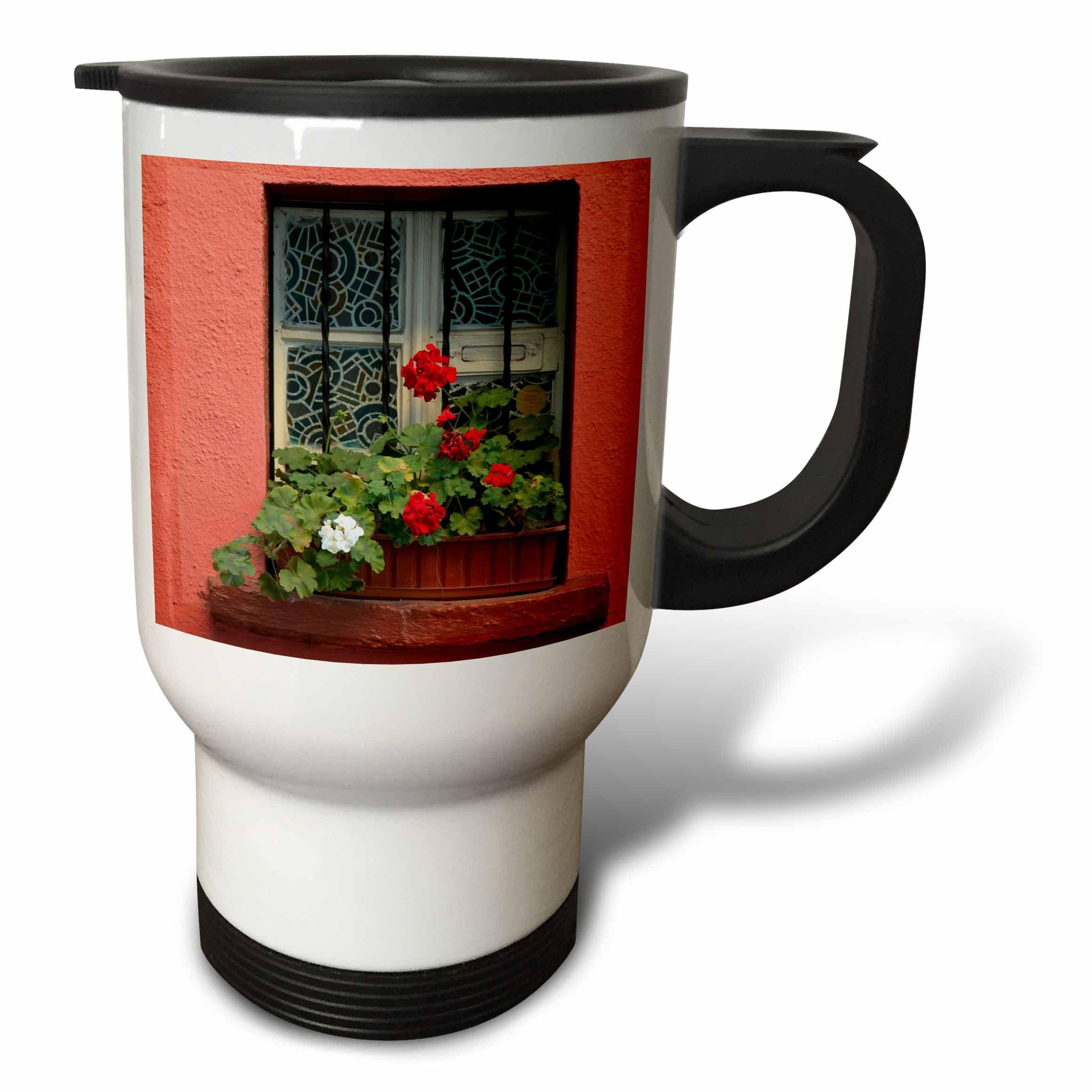 3dRose Danita Delimont - Flowers - Romania, Sighisoara, residential window in old town. Flowers in window - 14oz Stainless Steel Travel Mug (tm_277872_1)