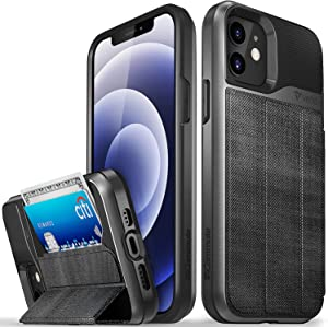 Vena Wallet Case Compatible with Apple iPhone 12/12 Pro (6.1-inch), vCommute (Military Grade Drop Protection) Flip Fabric Cover Card Slot Holder with Kickstand - Fabric Black