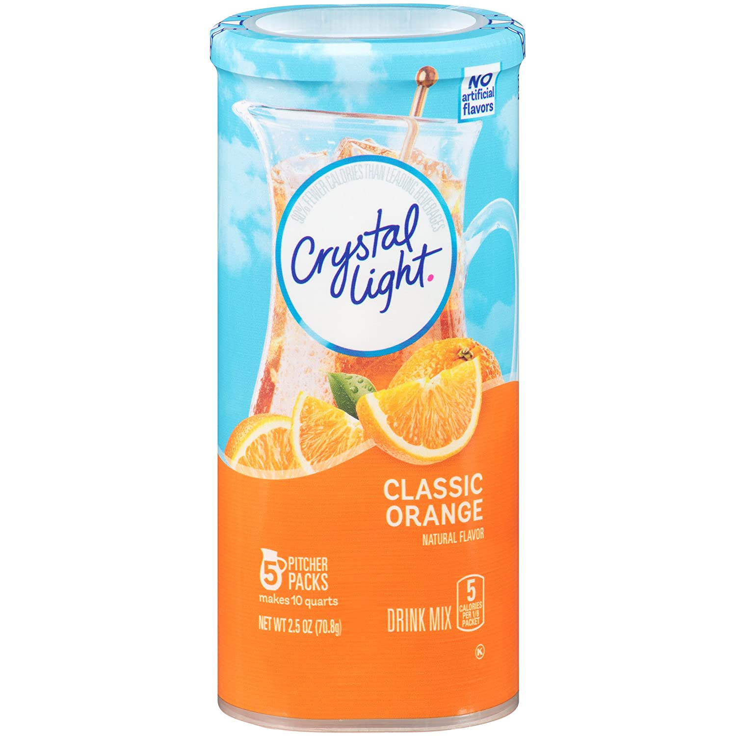 Crystal Light Drink Mix, Classic Orange With Vitamin C & Calcium, Pitcher Packets, 5 Count (Pack of 12 Canisters)