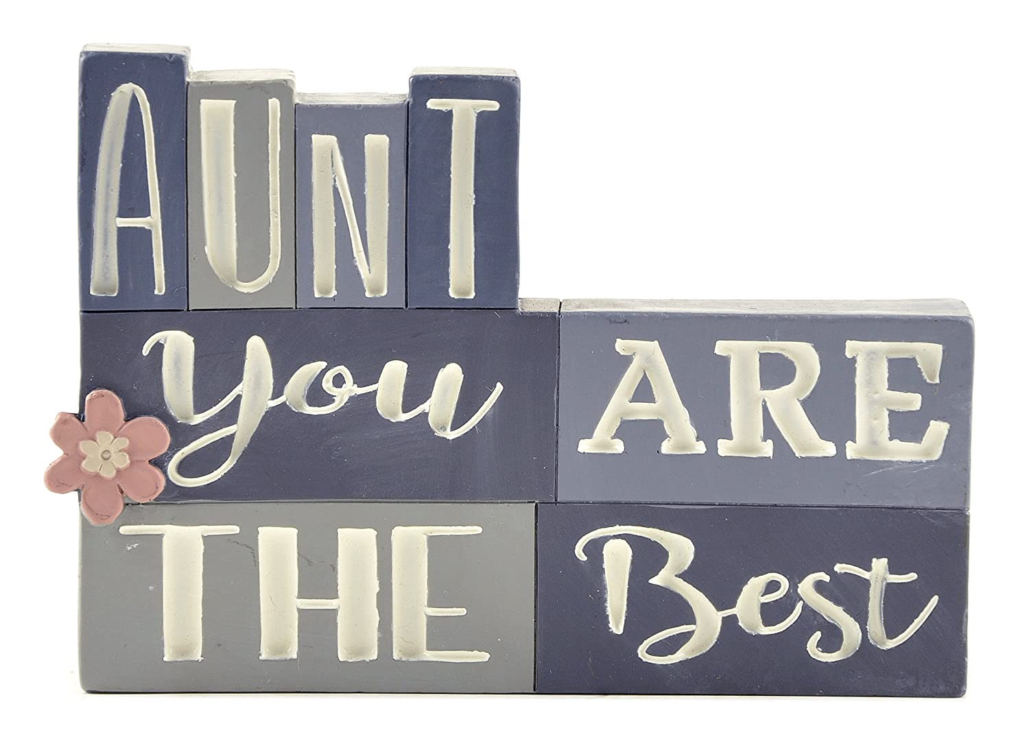Blossom Bucket Aunt You are The Best' Stacked Blocks Home décor