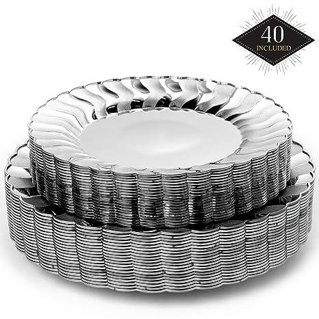 40 Platos Desechables de Plástico Duro, Elegante Acabado ...